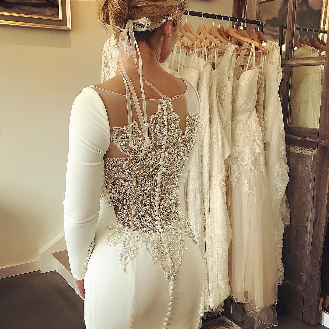 Stunning beaded back on this Justin Alexander gown.